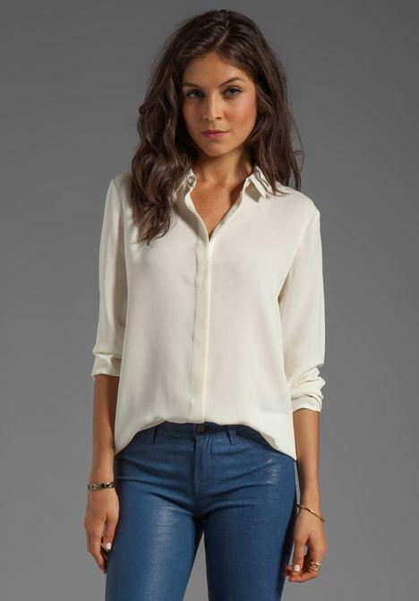 c3da44bbbf THEORY Simra Silk Shirt in Ivory at Revolve Clothing - Free Shipping ...