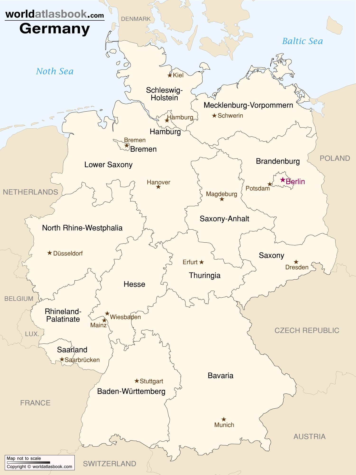 Map of Germany with States and Capitals | Nach Deutschland Reisen ...
