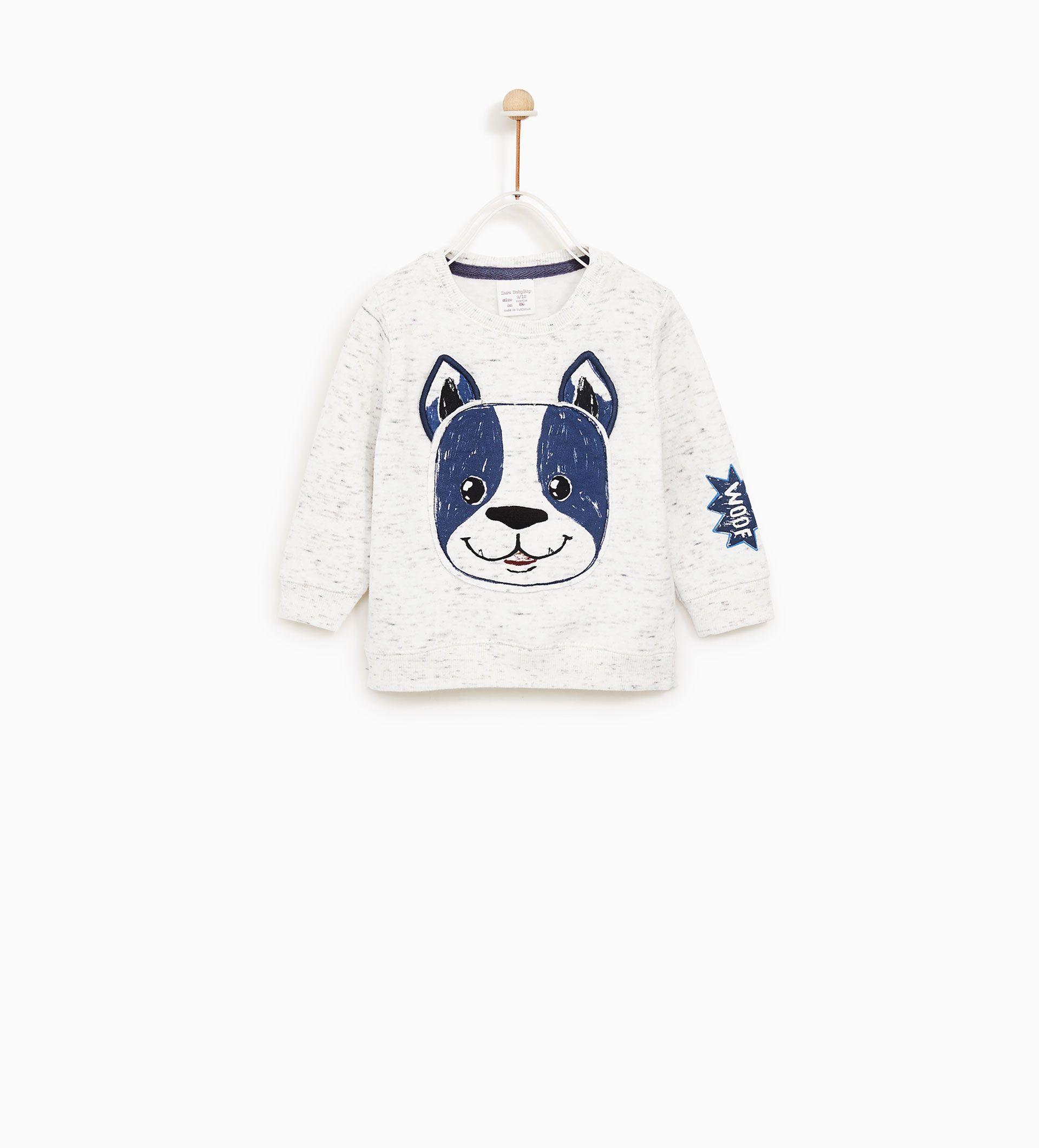Zara Collection Aw 17 Sweatshirt With Textured Dog Motif Ropa Para Bebe Varones Ropa Para Niños Varones Ropa Para Niñas