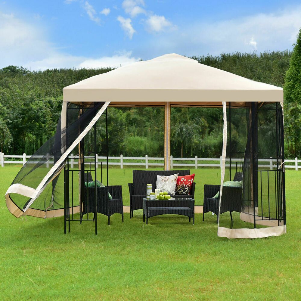 Gazebo Canopy Tent Shelter Two Tier 10x10 Patio Outdoor Awning With Netting Gazebo Outdoor Awnings Patio Wedding Gazebo