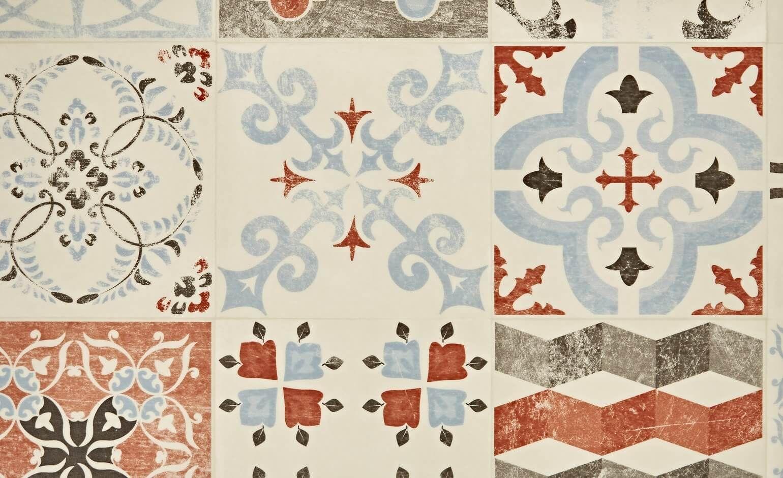 sol vinyle exclusive 240 carreau ciment rouge et bleu. Black Bedroom Furniture Sets. Home Design Ideas