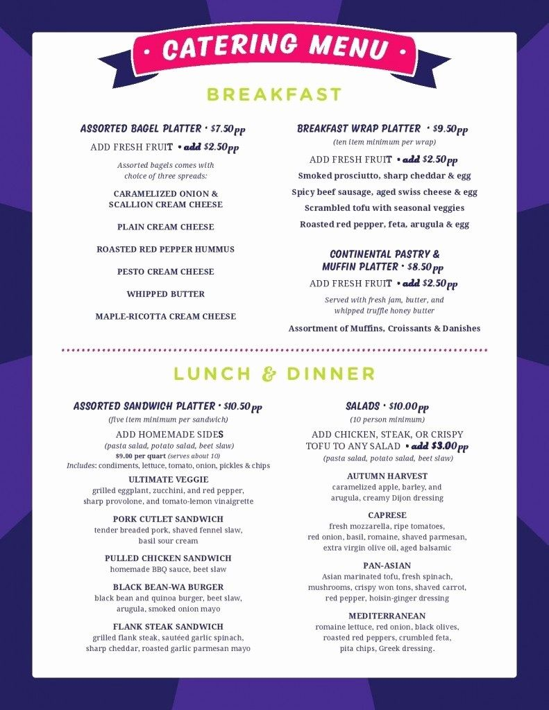 Catering Menu Samples in 2020 (With images) Catering