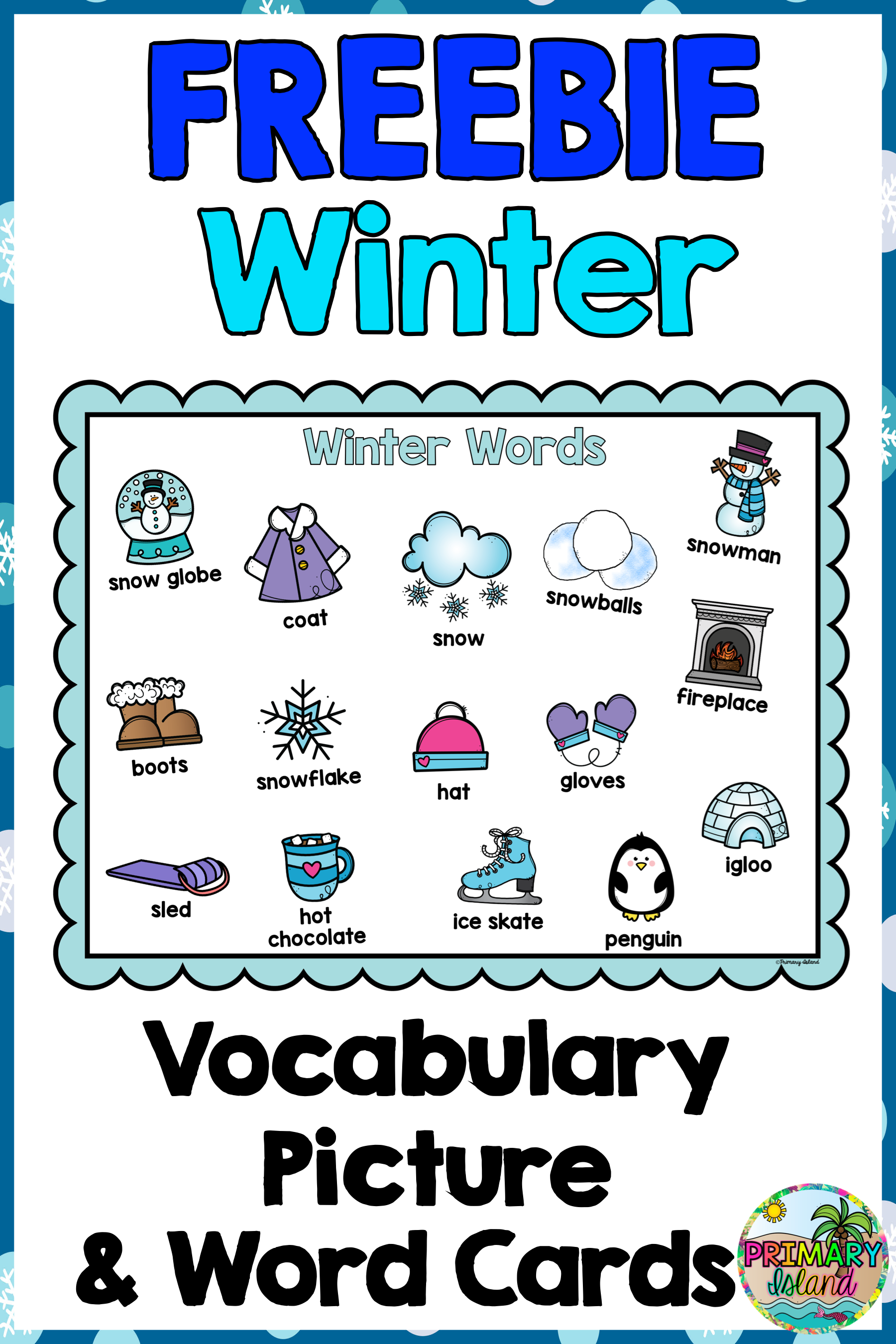 Winter Writing Vocabulary Picture Cards Freebie