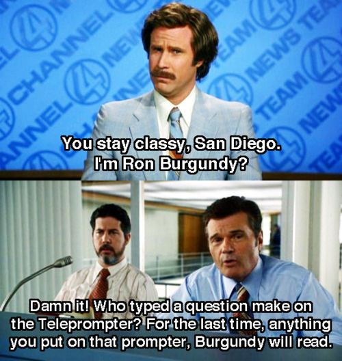 Image result for ron burgundy teleprompter