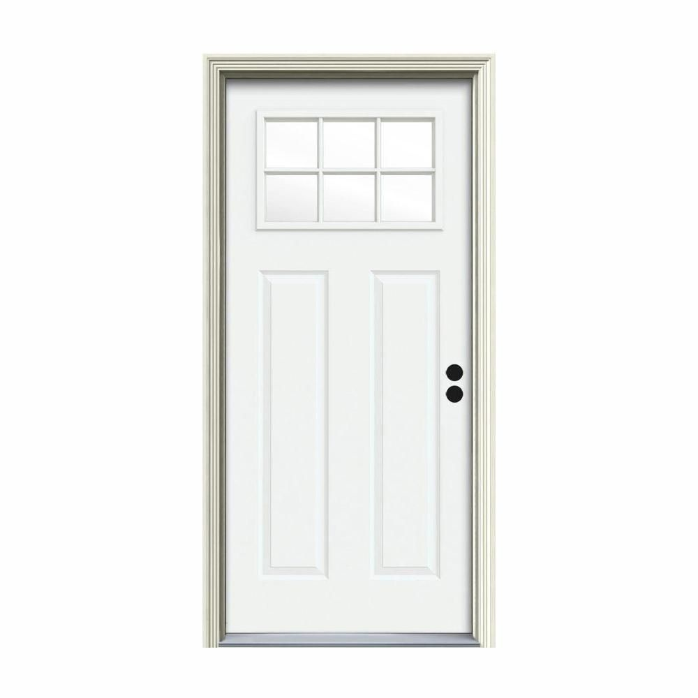 Jeld Wen 34 In X 80 In 6 Lite Craftsman White Painted Steel Prehung Left Hand Inswing Front Door W Brickmould Brilliant White Craftsman Exterior Door Craftsman Door Craftsman