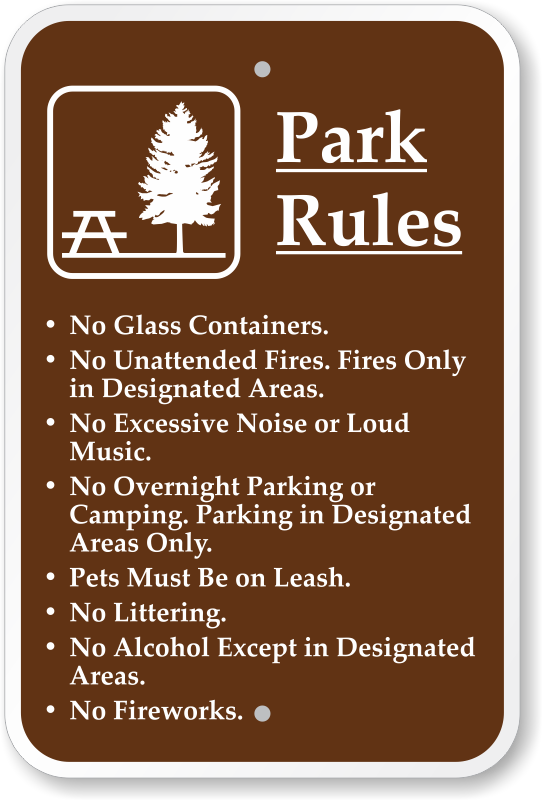 Park Rules With Graphic Sign K 0632 Png 542 800 Signage Signs