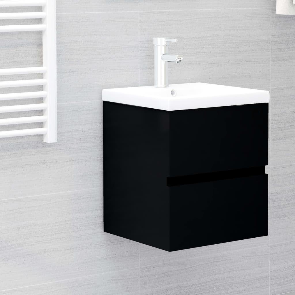 vidaXL Sink Cabinet with Built-in Basin Black Chipboard