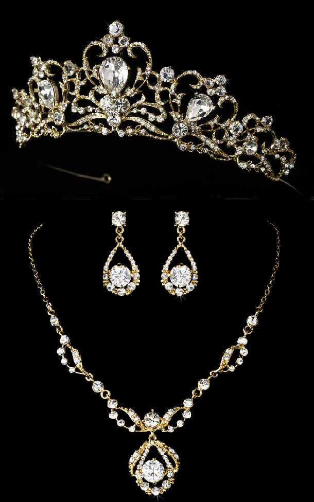 Fairytale 2 Gold Wedding Tiara and Matching Jewelry Set Gold