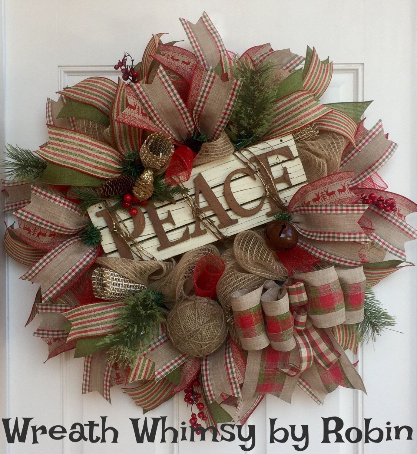 Rustic Jute Mesh Holiday Wreath with Wood & Metal Peace Sign in Tan, Red and