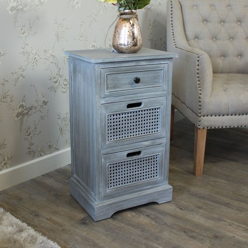 Milan Range Grey Three Drawer Bedside Cabinet This Wooden Can Be Used As A