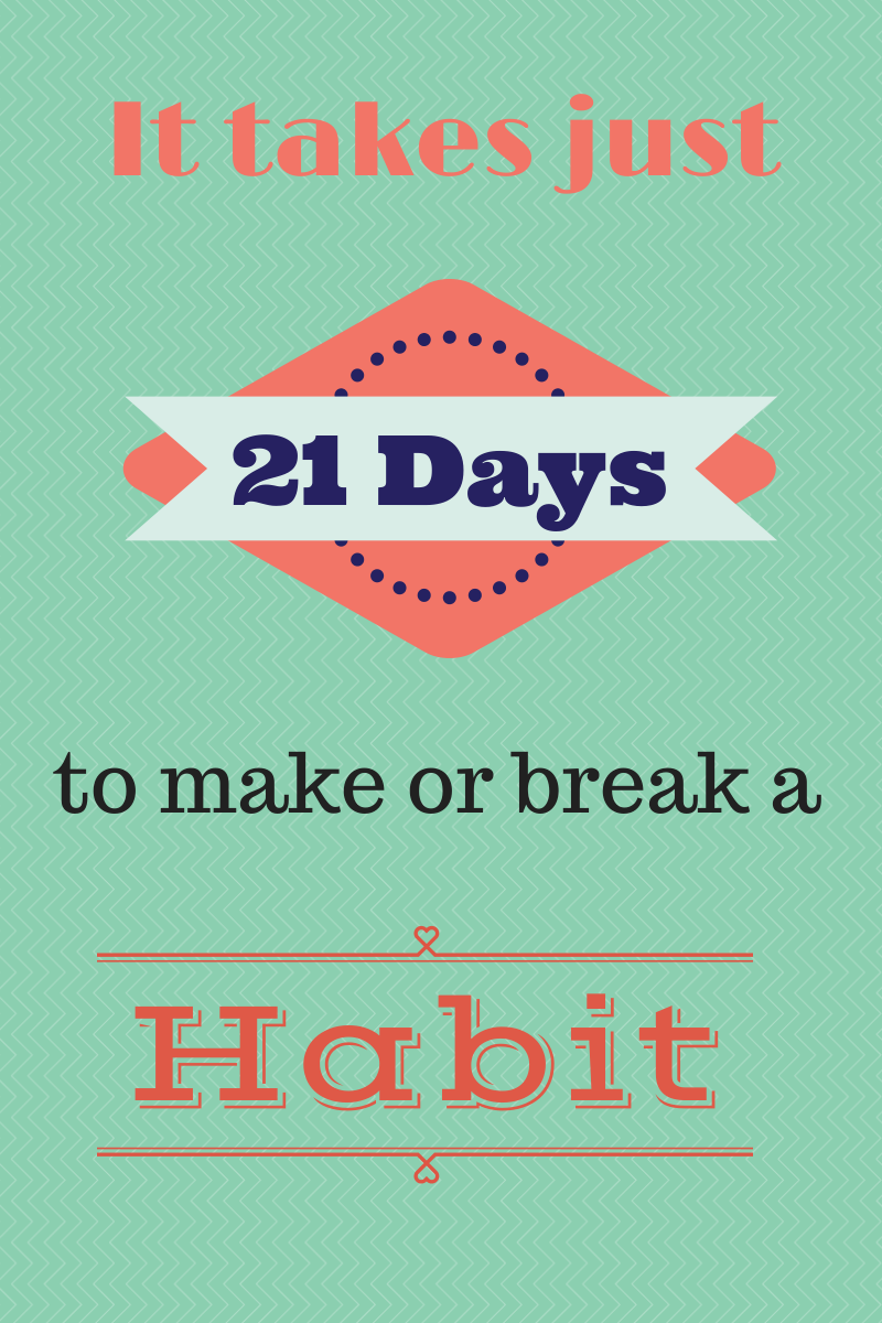 It takes 21 Days to make or break a habit! Check out the post on ...