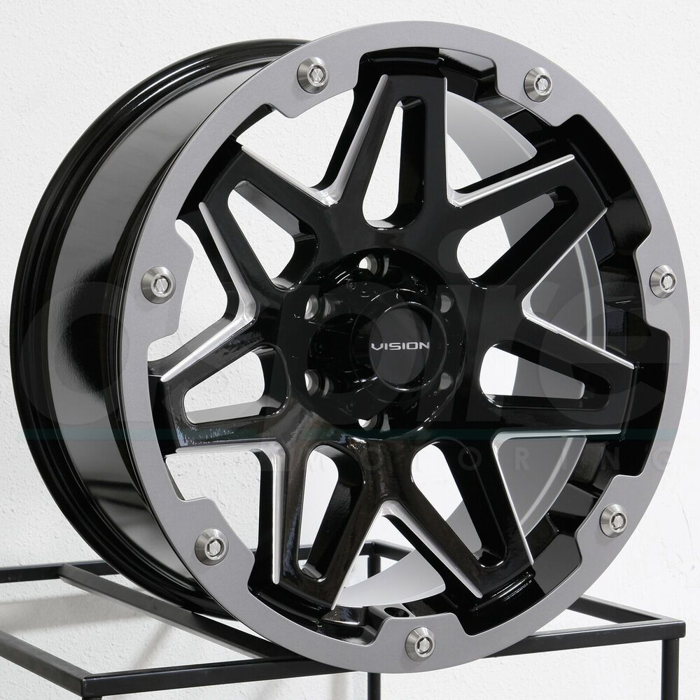 Advertisement Ebay 20x9 Vision 416 Se7en 6x5 5 6x139 7 0 Black Milled Wheels Rims Set 4 Wheel Rims Astro Van Black Chrome Wheels