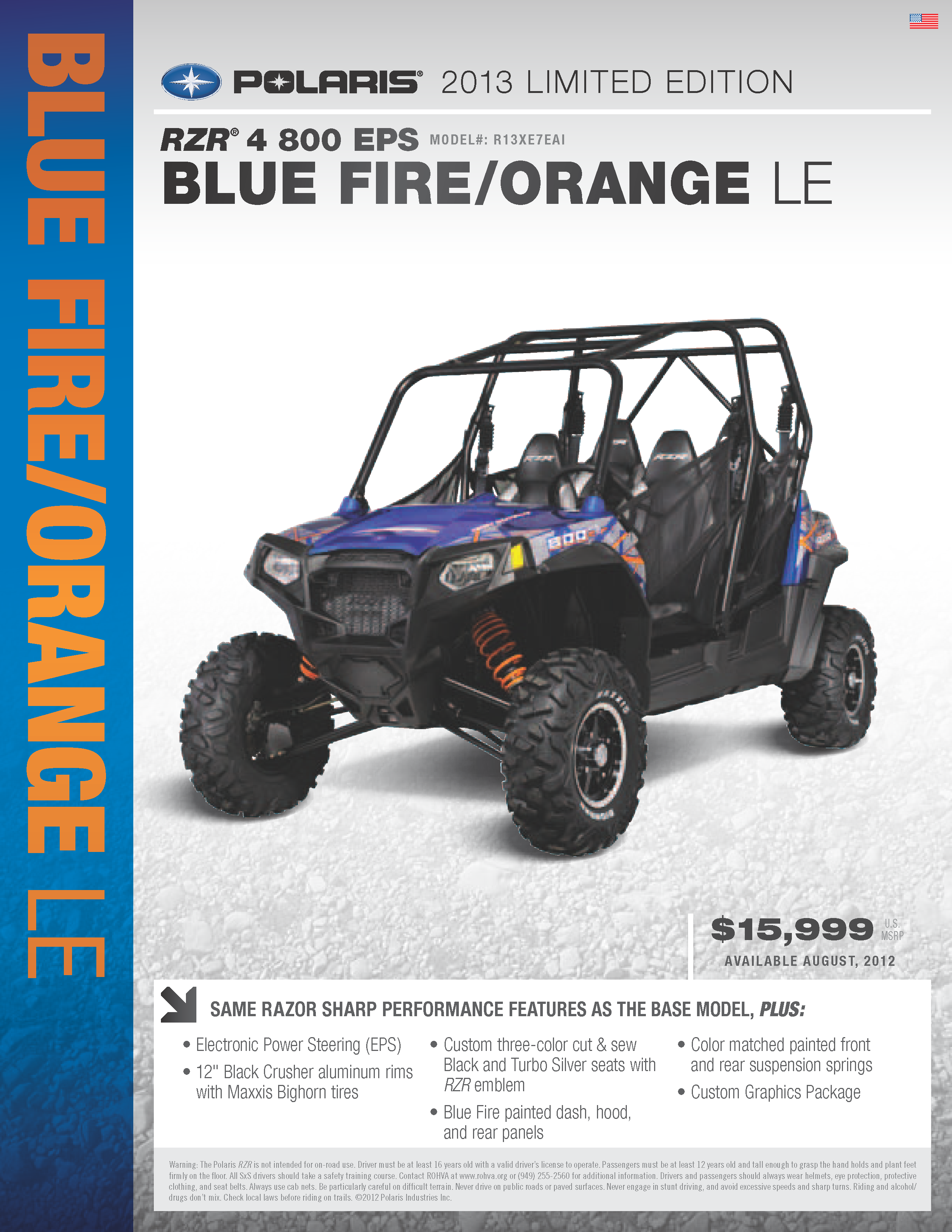 hight resolution of 2013 polaris ranger rzr 4 800 blue fire and orange le with eps