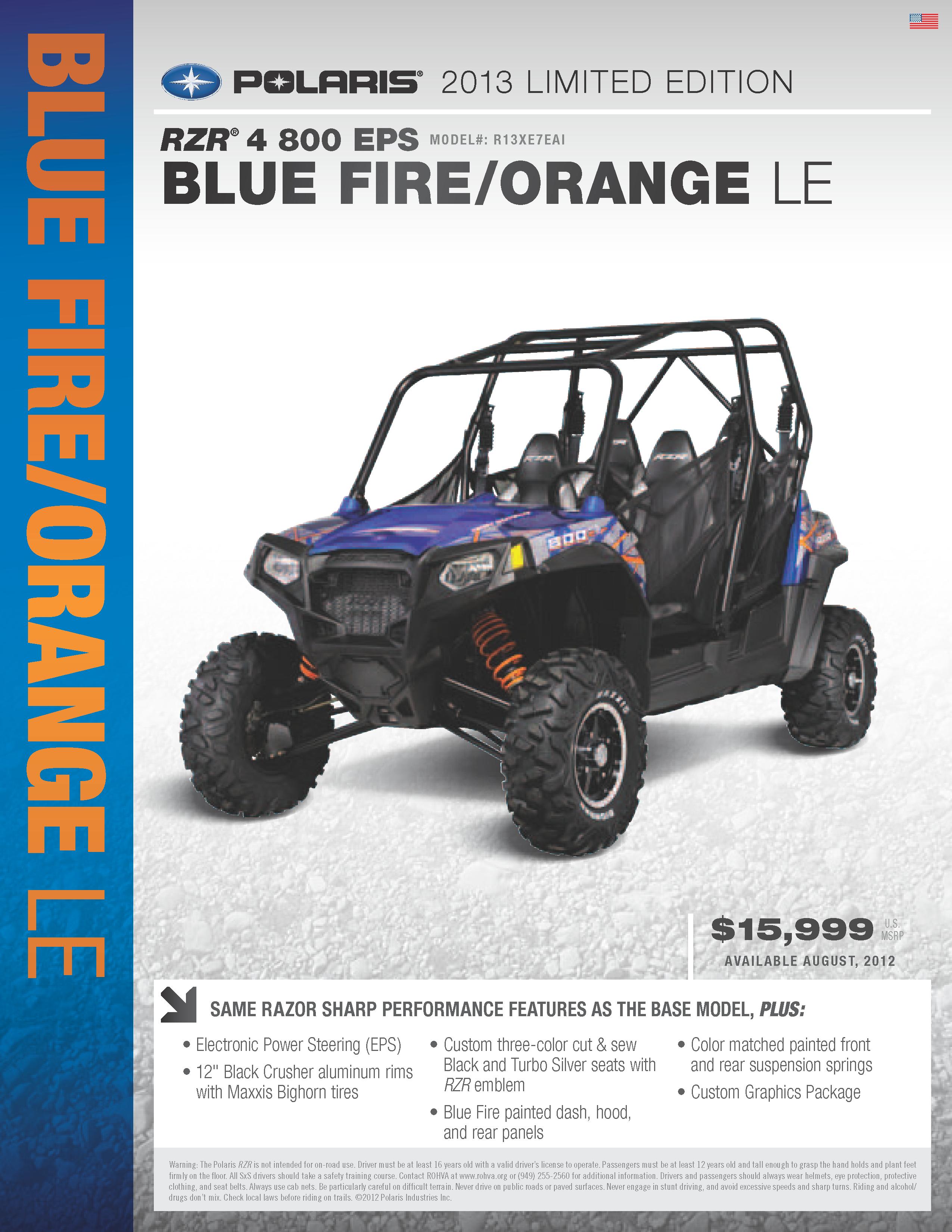 medium resolution of 2013 polaris ranger rzr 4 800 blue fire and orange le with eps