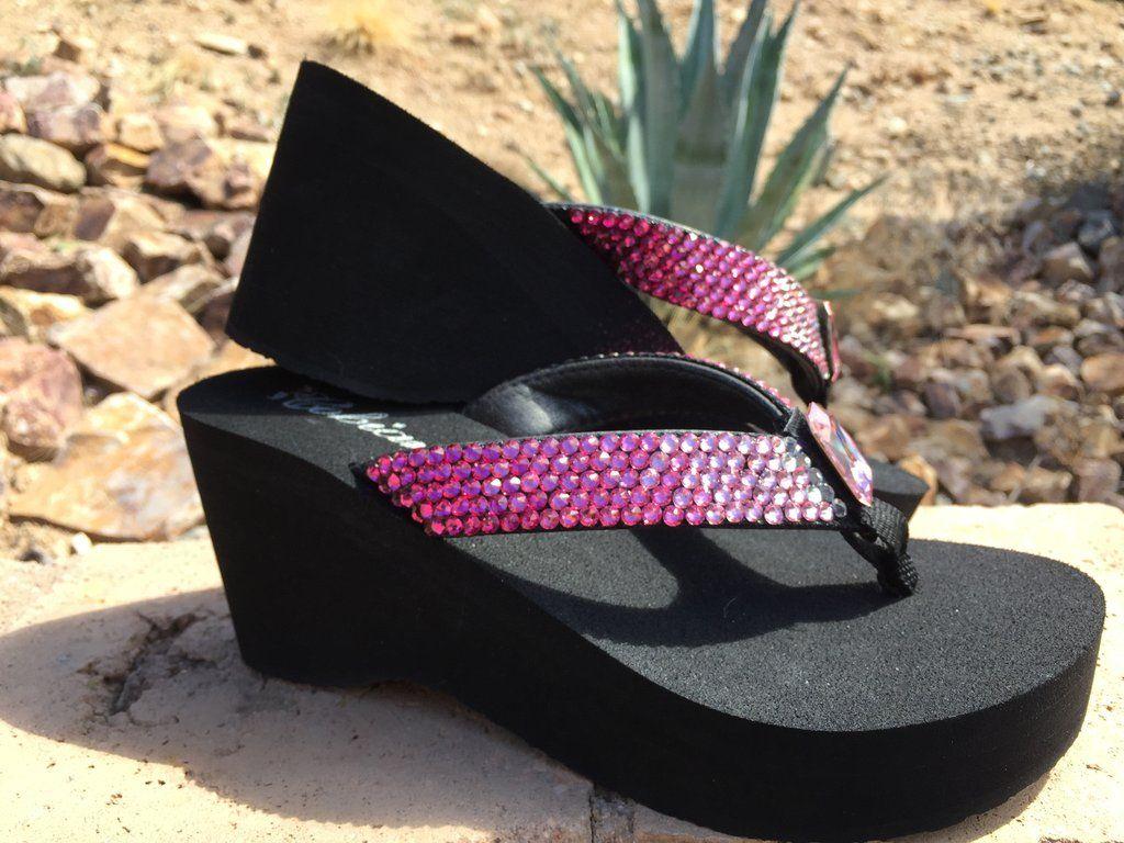 9fe54a527e42f3 Pretty in Pink Ombre  Rockstar Swarovski Crystal Platform Flip-flops by Sparkle  Steps