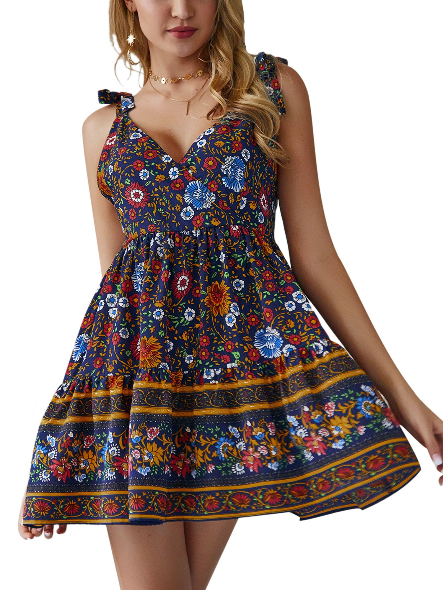 UK Womens Floral Ladies Holiday Party Swing Tunic BOHO Ties Cocktail Mini Dress