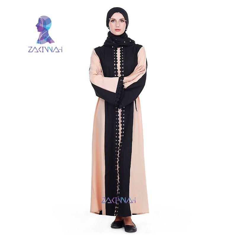d4f0be39389 Zakiyyah Fashion Lace Long Dress Send With Gift Muslim Eid Abaya Islamic  Clothing For Women Dubai Muslim Robes Musulmane