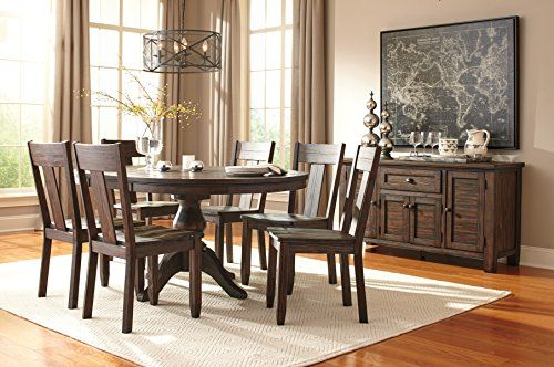 casual dining rooms. Trudill Casual Wood Dark Brown Color Dining Room Set  Round Extension Table 6 Chairs Server Appliances Pinterest Room Sets