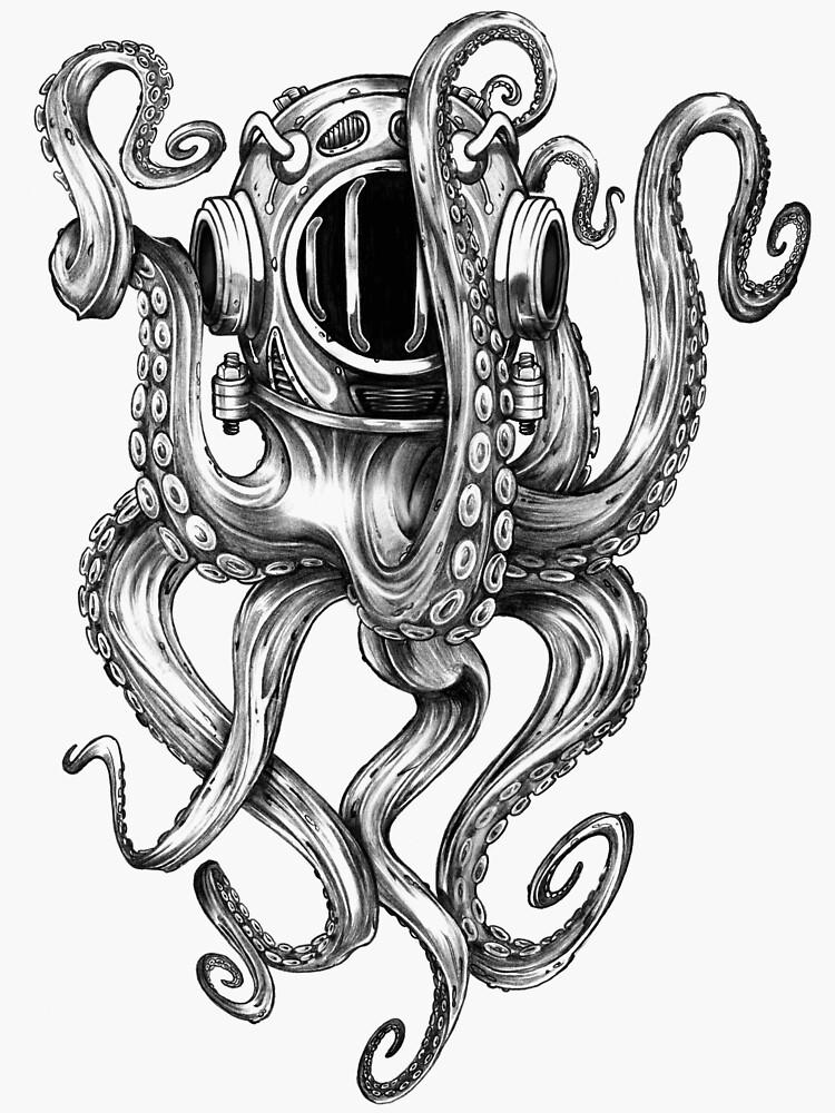 Photo of Octopus Scuba Diver Helmet Sticker