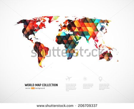 Stock vector geometric world map with triangle pattern vector stock vector geometric world map with triangle pattern gumiabroncs Image collections