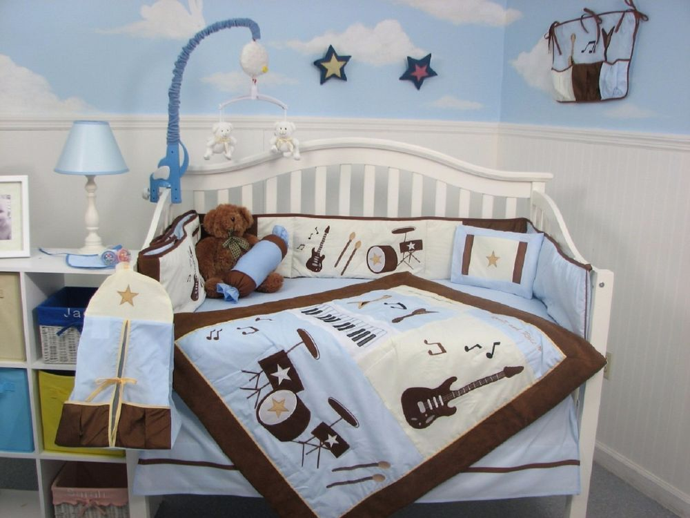 Crib Bedding Set Blue Rock N Roll Band Infant Baby Boy Nursery 14 Pc Quilt New Soho Boys Crib Bedding Sets Nursery Bedding Sets Baby Blue Bedding