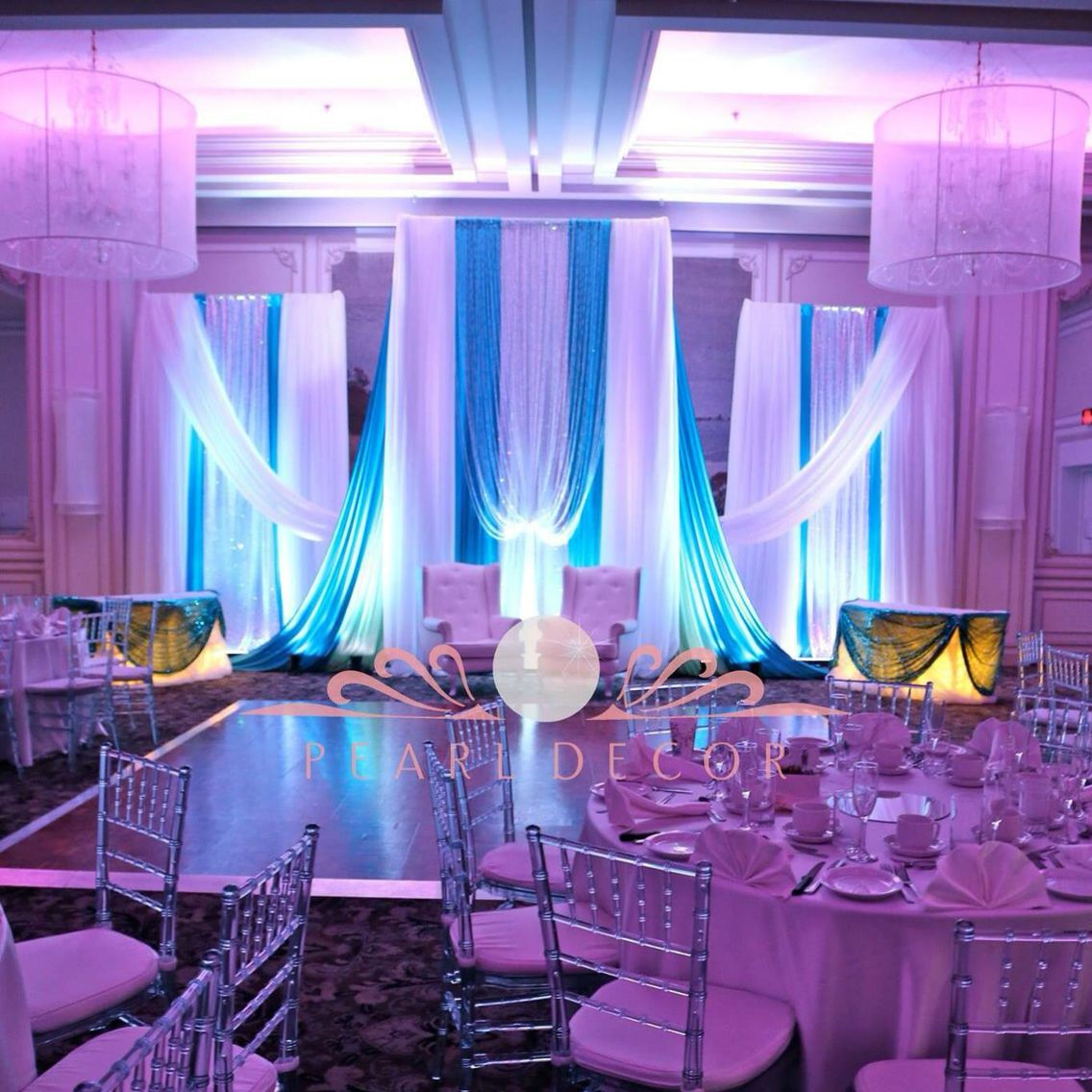 Purple and blue wedding decor  Frozen winter backdrop draping blue  WinterLude Wedding  Pinterest