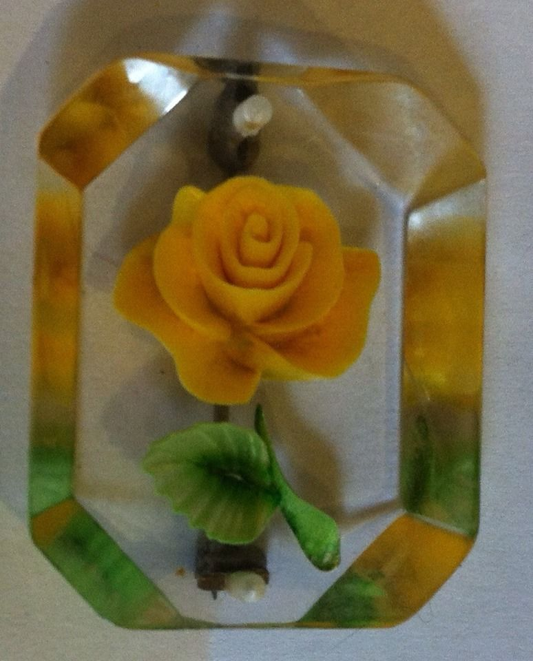 Vintage 40's Lucite Clear Reverse Carved Rose Yellow Flower Pin Brooch Earings | eBay