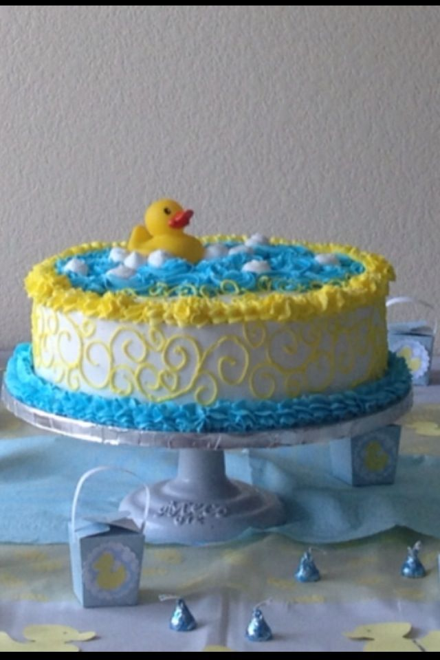 Admirable Ducky Cake I Made Baby Shower Cakes For Boys Duck Cake Baby Funny Birthday Cards Online Inifofree Goldxyz
