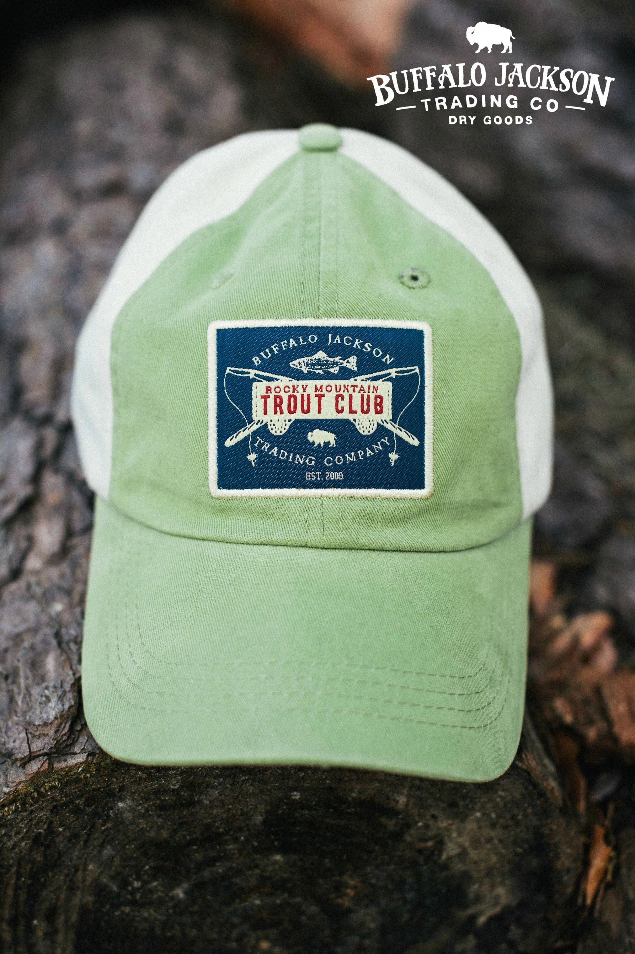 8cb1c980c82 Rugged 6 panel unstructured Rocky Mountain Trout Club baseball hat ...