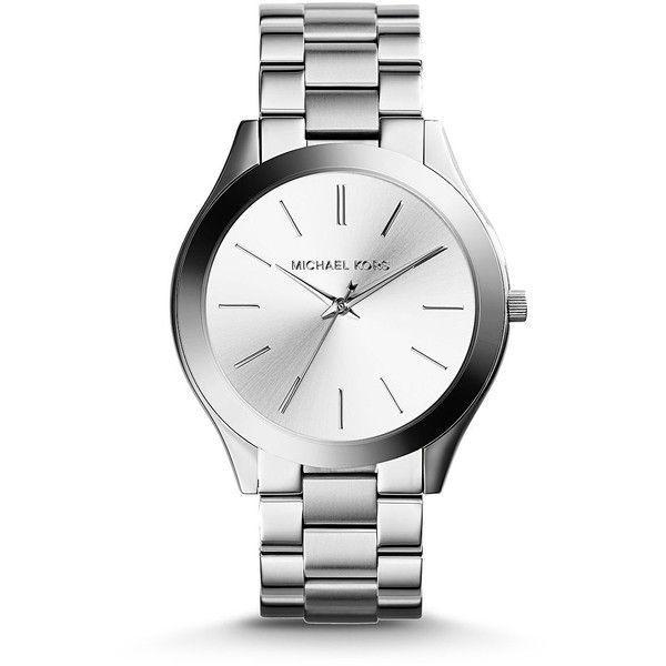 Michael Kors Slim Runway Stainless Steel Bracelet Watch ( 205) ❤ liked on  Polyvore featuring 5c3265be4e
