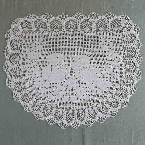 Vintage Filet Crochet Pattern Chair Back&Oval Doily Birds&Roses ...