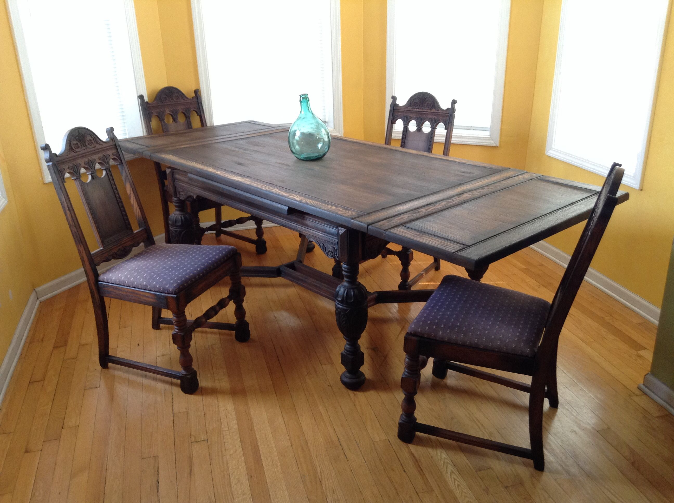Distressed and Torched Oak Antique Dining Table