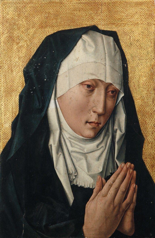 Bottega di Dirk Bouts, Madonna addolorata, 1460 circa, olio su tavola, collezione privata.