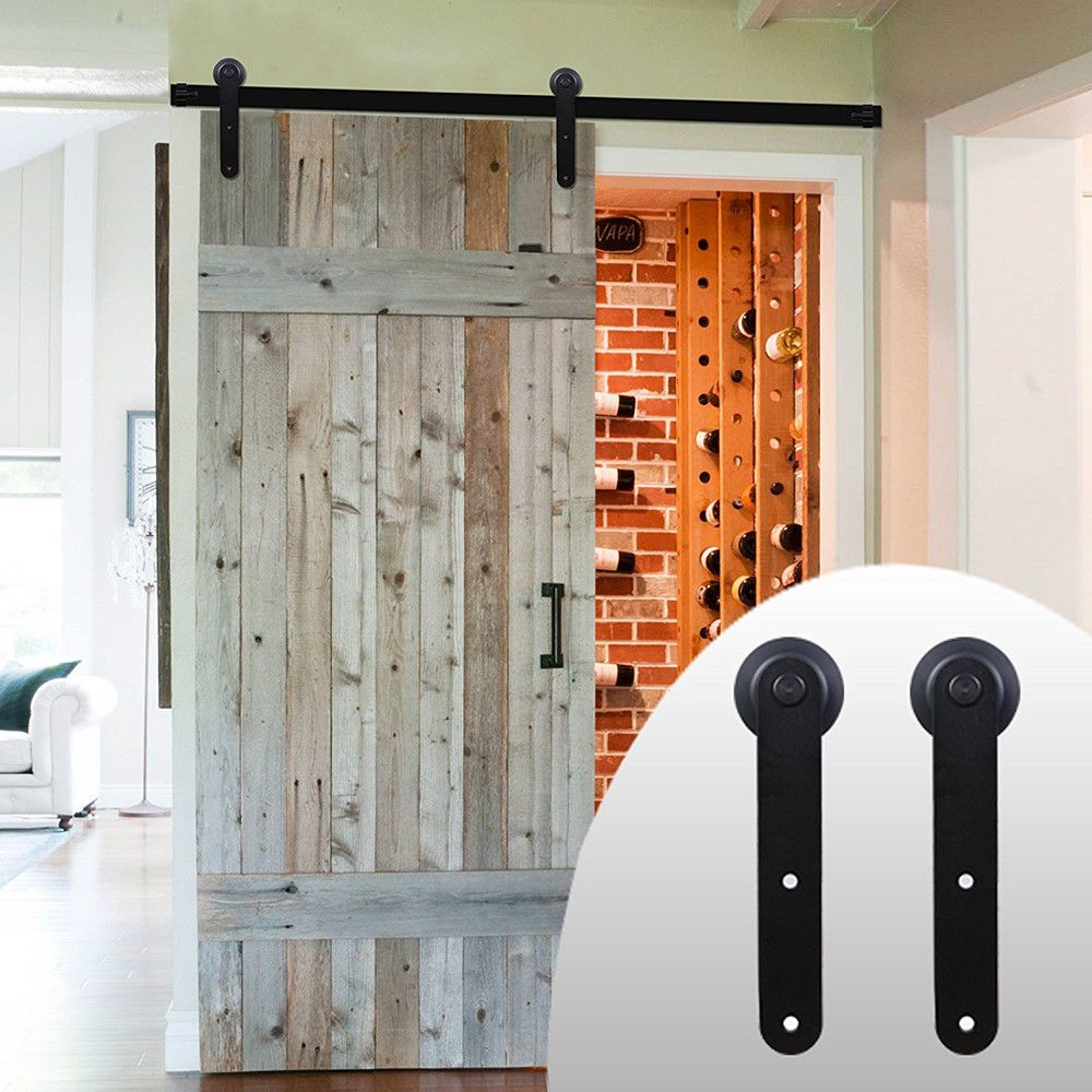 6 8 10 12 15 16ft Single Sliding Barn Door Hardware Kit Bedroom I Style Straight Barn Door Hardware