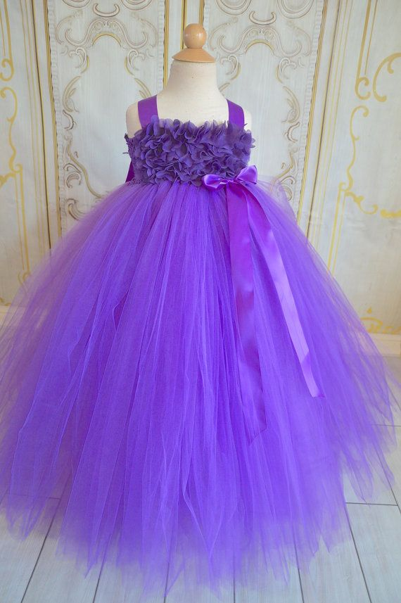 purple chiffon Flower girl tutu dress   Gasa, Las flores y Flor