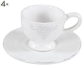 Set da caffe' in ceramica per 4 persone Romantica - d 12/h 7 cm