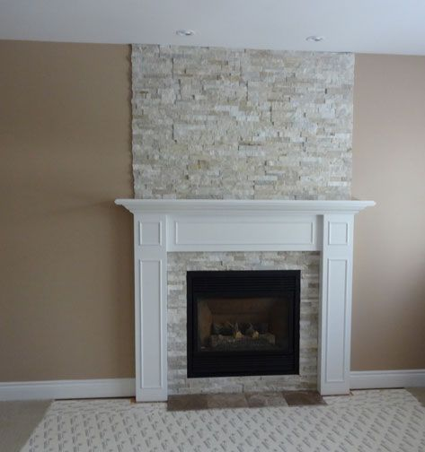 Ideas For Tile Around Fireplace: Fireplace Restructuring From Wood To Gas