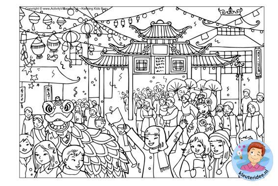 Kleurplaat Chinese Nieuwjaar Colorpage New Year Kleuterideenl