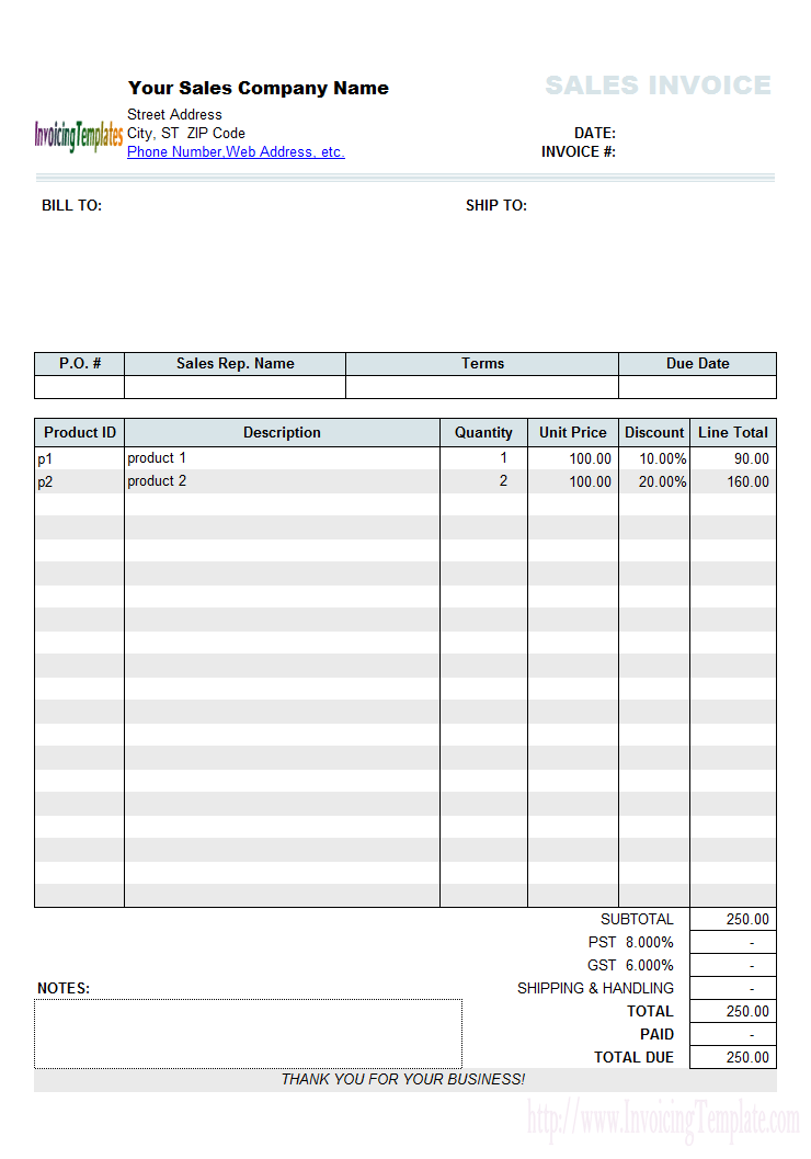 Sales Invoice Template With Discount Percentage Column Invoice Template Invoice Sample Invoice Format In Excel