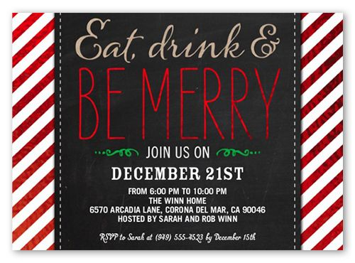 Be Merry Stripes Holiday Invitation Square Corners Black