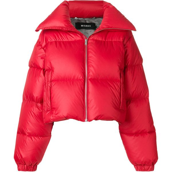 Misbhv photo patch puffer jacket (€470) ❤ liked on Polyvore featuring outerwear, jackets, coats, red, puffer jacket, patch jacket, feather jacket, red puffer jacket and puffy jacket