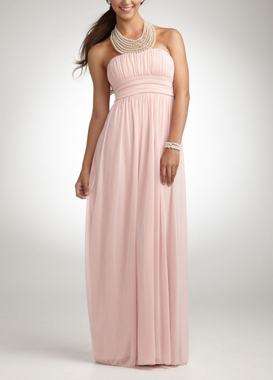 Pearl jeweled necklace halter mesh gown davidus bridal prom