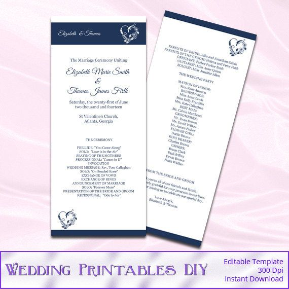 DIY Printable Wedding Program Templates by WeddingPrintablesDiy - printable program templates