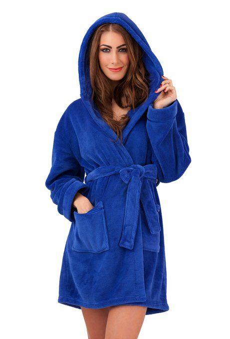 WOMENS LUXURY COREL SOFT SNUGGLE HOODED SHORT BATH ROBE DRESSING ...