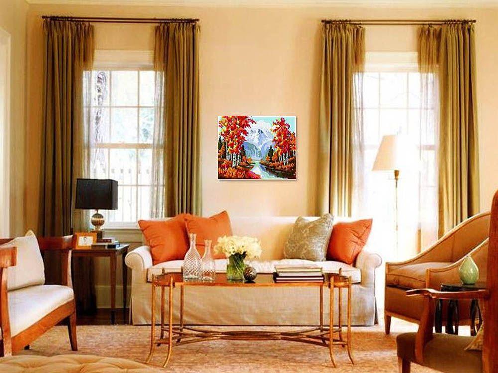 Картина по номерам «Золотая осень»   Цвета гостиной ...