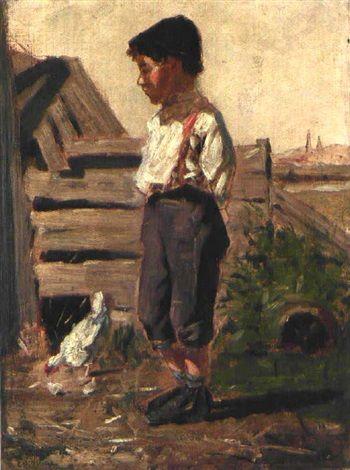 Stehender Bub mit aufgekrempelten Hosenbeinen vor einem Hühnerstall, neben ihm ein Huhn by Orovida Camille Pissarro