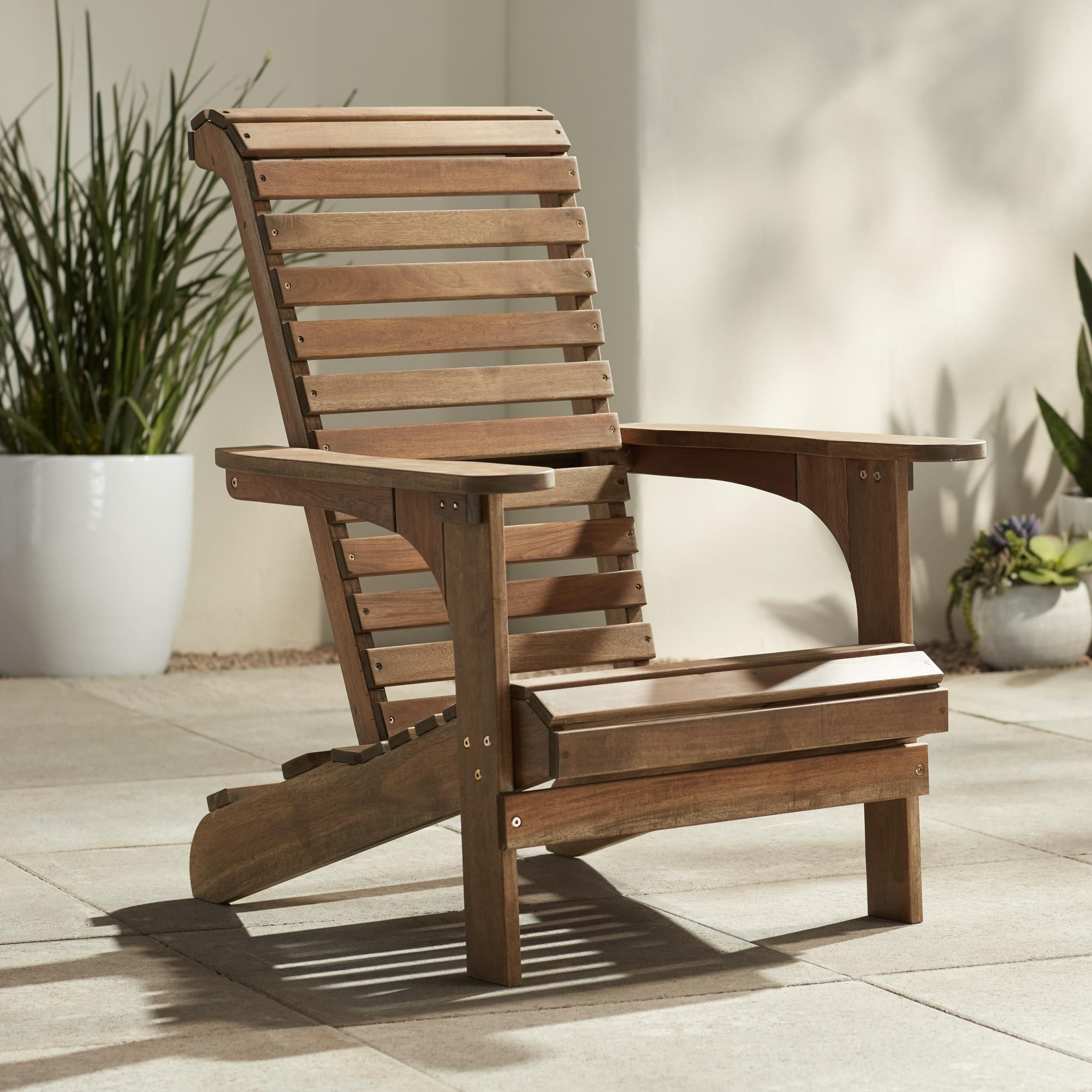 Kenneth Acacia Natural Wood Adirondack Chair Wood Adirondack
