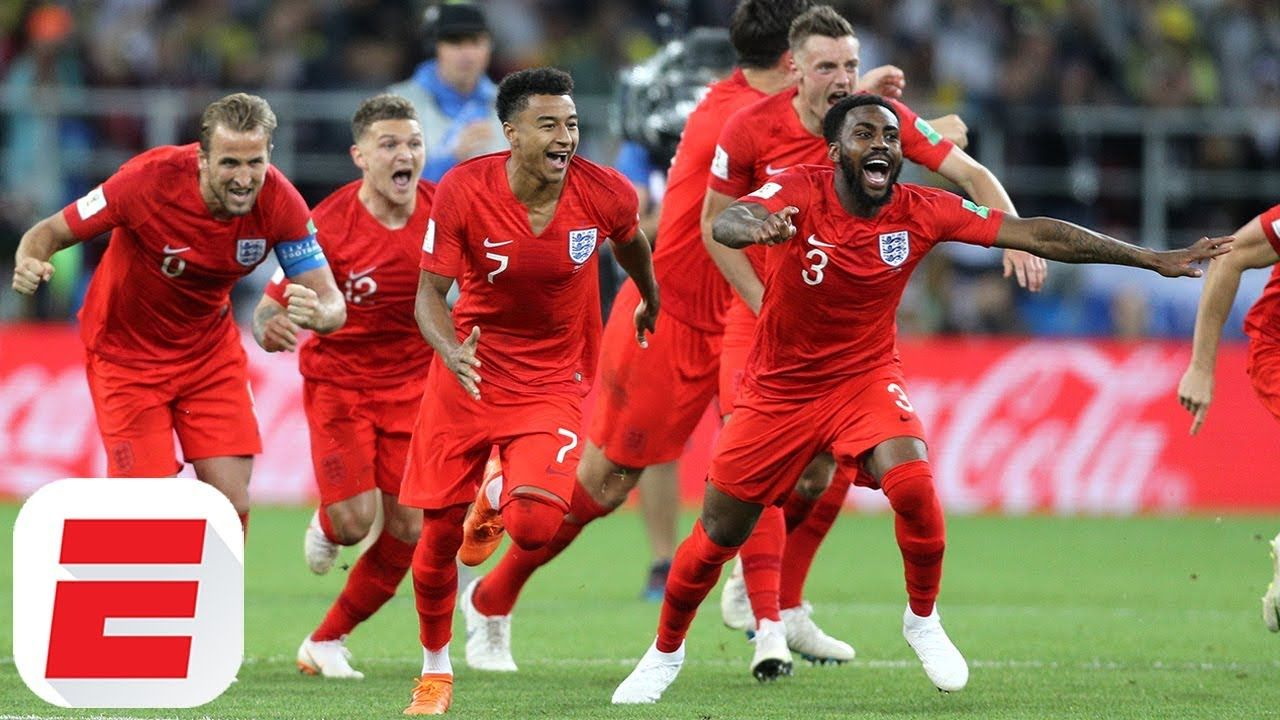 England Fans Go Crazy Celebrating World Cup Penalty Shootout Win Over Colombia England Won Their First Ever Penal England Fans World Cup England Football Team