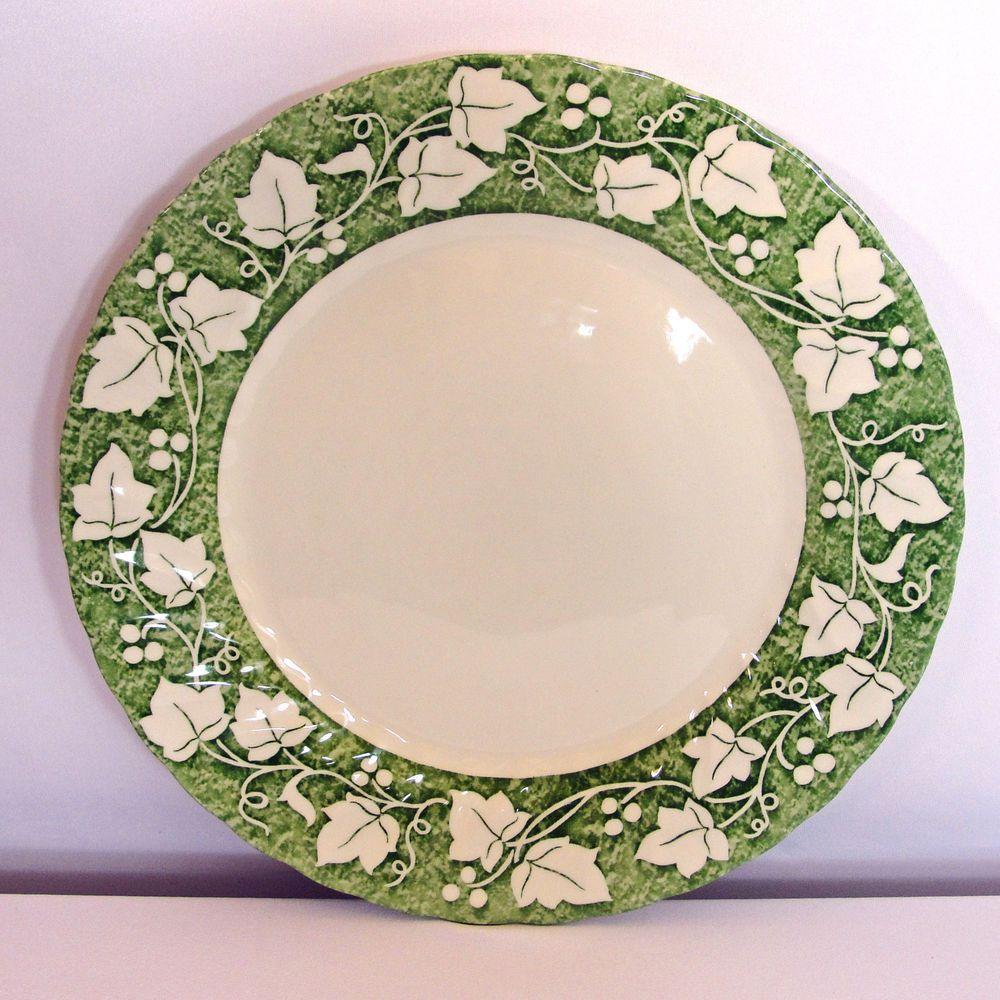 Churchill VERDIGRIS Dinner Plate White \u0026 Green Ivy 10\  England (Set of 2) & Churchill VERDIGRIS Dinner Plates White \u0026 Green Ivy 10\