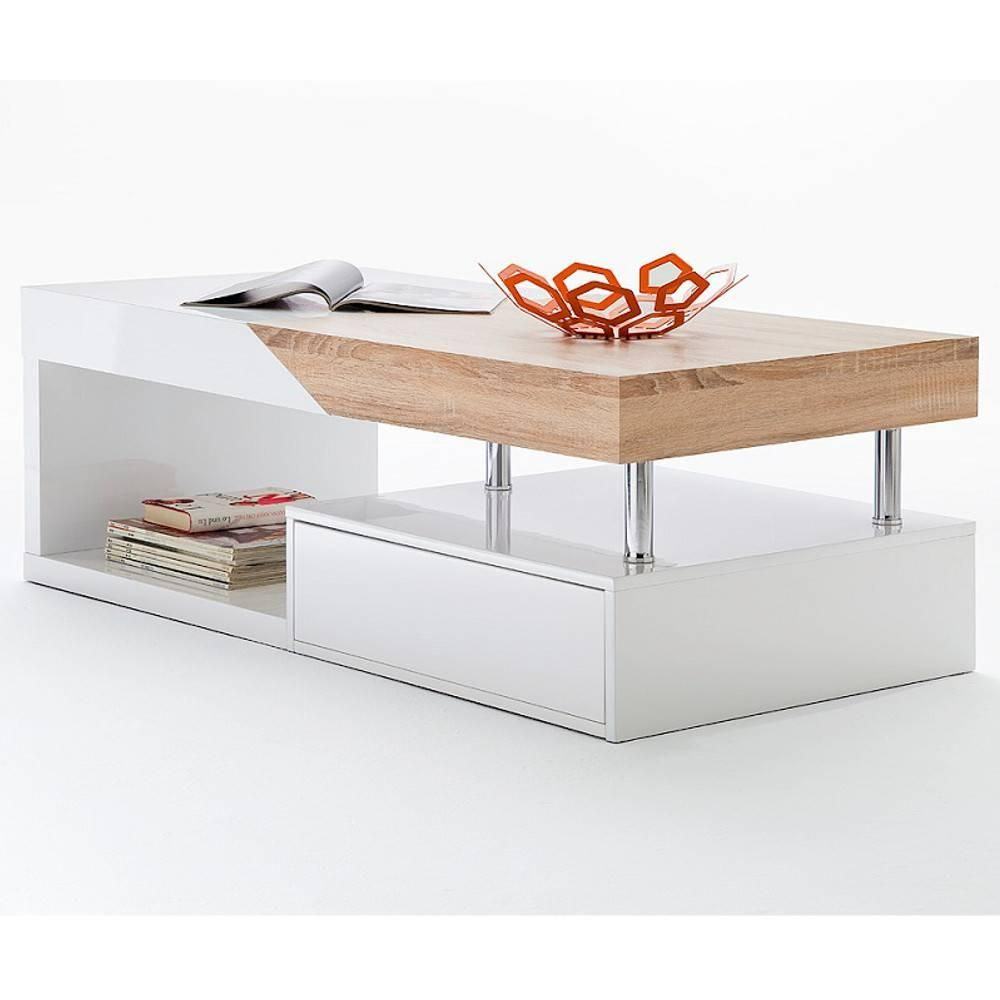 Table Basse Design Howard Blanche Brillant Et Chene Plateau Coulissant Table Basse Design Table Basse Table Basse Carree